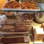Rich selection of wonderful bread for breakfast in executive lounge