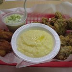Fried oysters, cheese grits, cole slaw