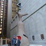 Clive and Carolyn admiring Miro sculpture