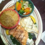 Salmon/Halibut combo with steamed veggies and rice