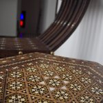 Detail of handcrafted furniture in Riad