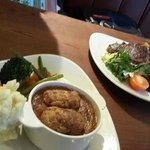 Left: Braised Lamb Shoulder Casserole & Hand-rolled Dumplings. Right: 10oz Black Angus Prime Rib