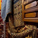 Beautiful detailed silk rugs in the shop