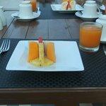 Outdoor breakfast on the open balcony (facing Adam's Peak)