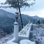Resort Porch during Snowfall