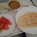Lovely dosas & fresh papaya