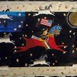 Mixed media art showing George Washington