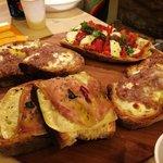 Salsiccia & Stracchino, Pizzaiola and Ham&Cheese bruschetta