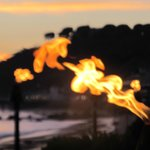 Gas lights in evening