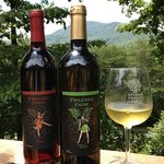 Two of Our Frolicking Faerie Wines on the Terrace