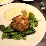 Crab cake appetizer - very good except for the bed of tired greens it sat on