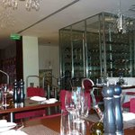 The All glass wine cellar of the restaurant