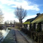 Guy's Canalside Lodge at Guy's Thatched Hamlet on a frosty morning alongside the Lancaster Canal