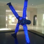 The famous blue man in lobby