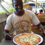 Hmmmm...Good pizza at Kaz Creol..