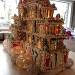 in the hotel lobby, a huge gingerbread house!