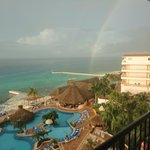 Rainbow during sun shower