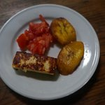 Breakfast - cheese, tomato and plantain