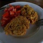 Breakfast - Rice patty and tomato