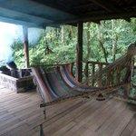 Back porch of cabin w/ private hot tub