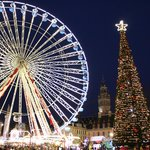 Ferris Wheel together with Christmas tree