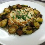 Seared chicken w/roasted brussel sprouts--one of our daily specials