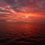 Sunset from fishing trip boat.