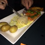 Fish with new potatoes and vegetables- lovely