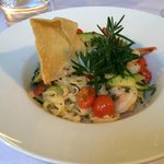 The starter of tagliatelle with garlic prawns