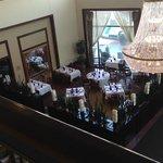 Atrium view of restaurant, bar to the left