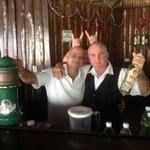 Alfredo & Galego bartenders by the pool