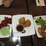 Appetizers: Chicken Tikka, Pumpkin Samosa, Breaded Prawns with Chilli Sauce