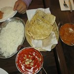 Basmati Rice, Butter Chicken, Garlic Butter Nan Bread and Lamb Madras