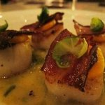 "SCALLOPS - ""melted"" brussels sprouts, butternut squash, Zoe's bacon – $36"