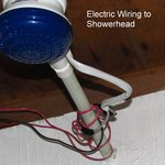 electrical wiring to the shower head