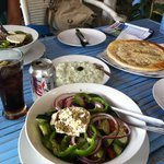 Greek salads with pita and tzatziki