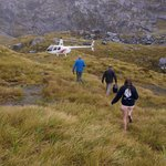Hillside landing running from the rain shower