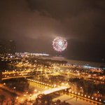 New Years Eve fireworks at the Navy Pier. This is the view from the 19th floor.