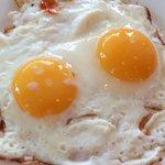 Fried eggs in breakfast