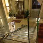 Floating glass stair entry