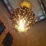 Chandelier in villa reception desk