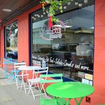 Outdoor seating in the warm months