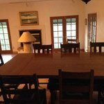 Breakfast table and adjacent room.