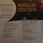 DLounge New Year's Eve Menu