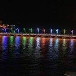 Pontoon bridge at night