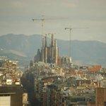 Blick auf die Baustelle der Sagrada Familia aus dem Zimmer
