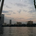 Canal boat on the Nile during the sun set