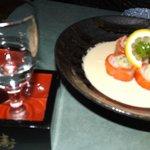 Smoked salmon shashimi...