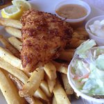 Coconut fried flounder and chips