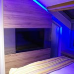 TV in bedroom of suite